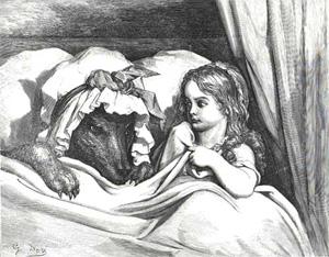 Rödluvan och vargen av Gustave Doré