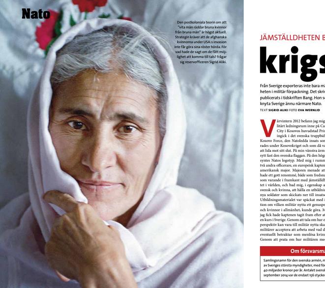 Ett utsnitt ur uppslaget med artikeln om Nato och kvinnorna